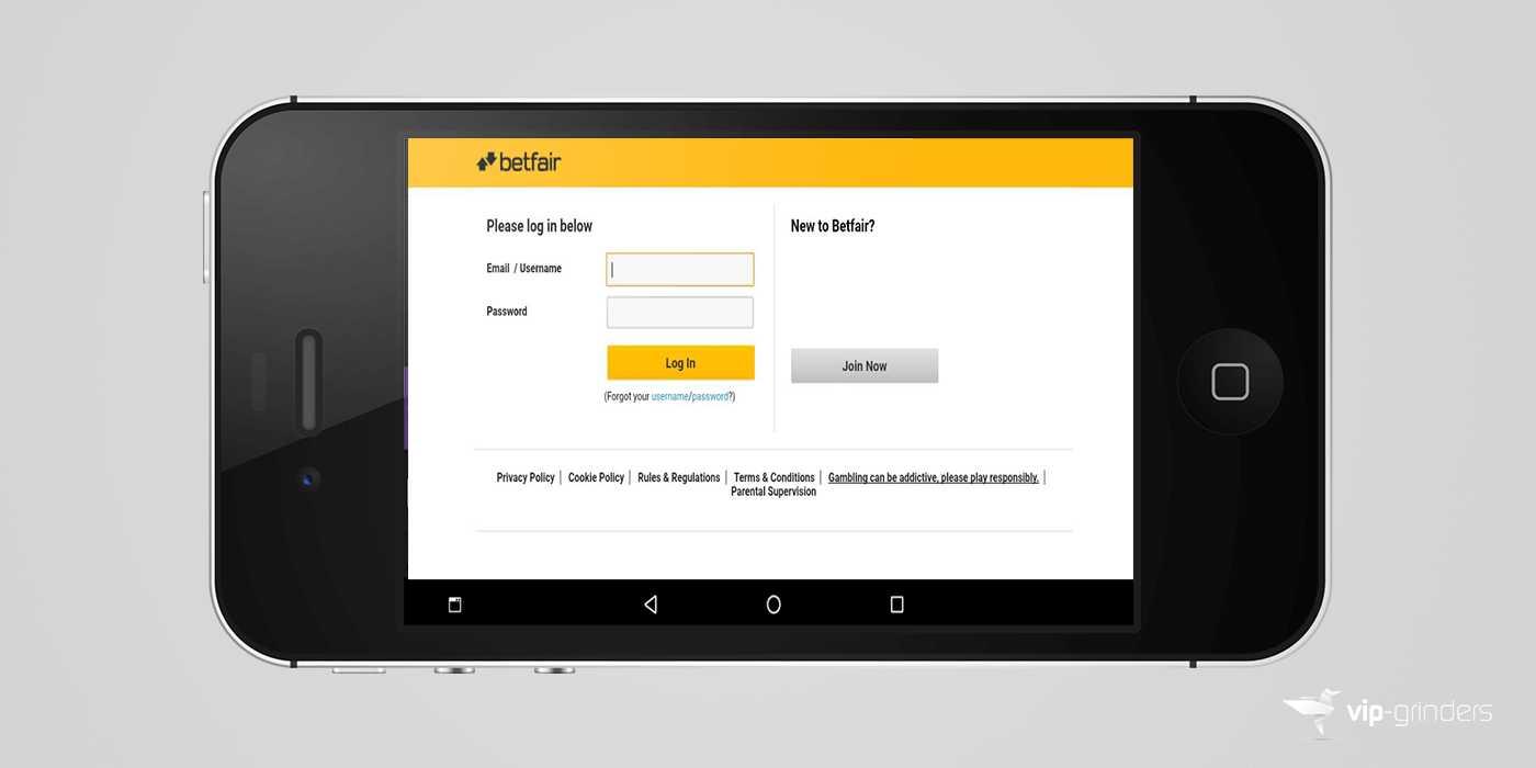Betfair login mobile