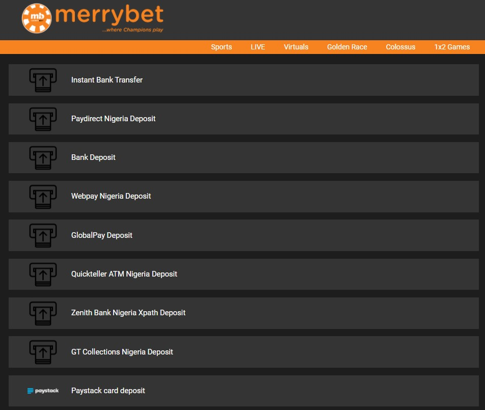 MerryBet mobile withdrawal