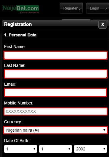 NaijaBet registration